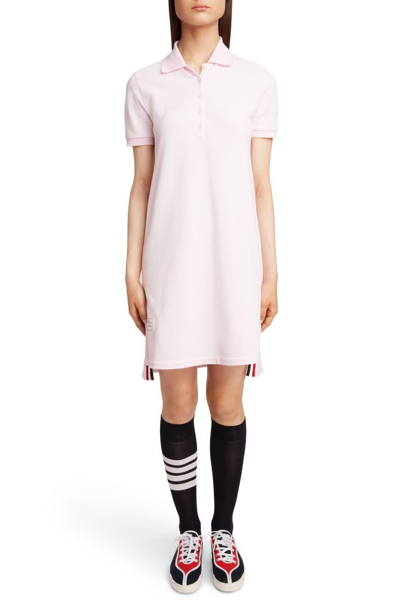 THOM BROWNE Stripe Piqué Polo Dress, Main, color, 680