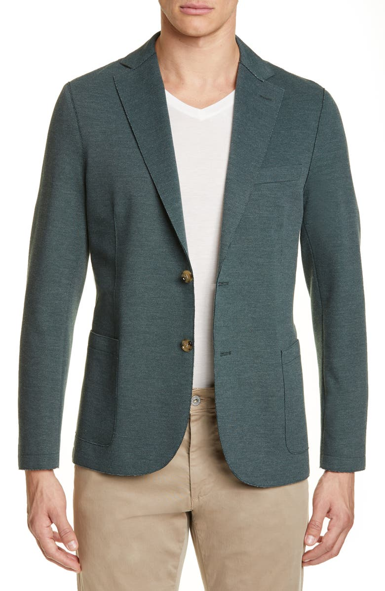 ELEVENTY Slim Fit Raw Edge Stretch Cotton Blend Sport Coat, Main, color, 309