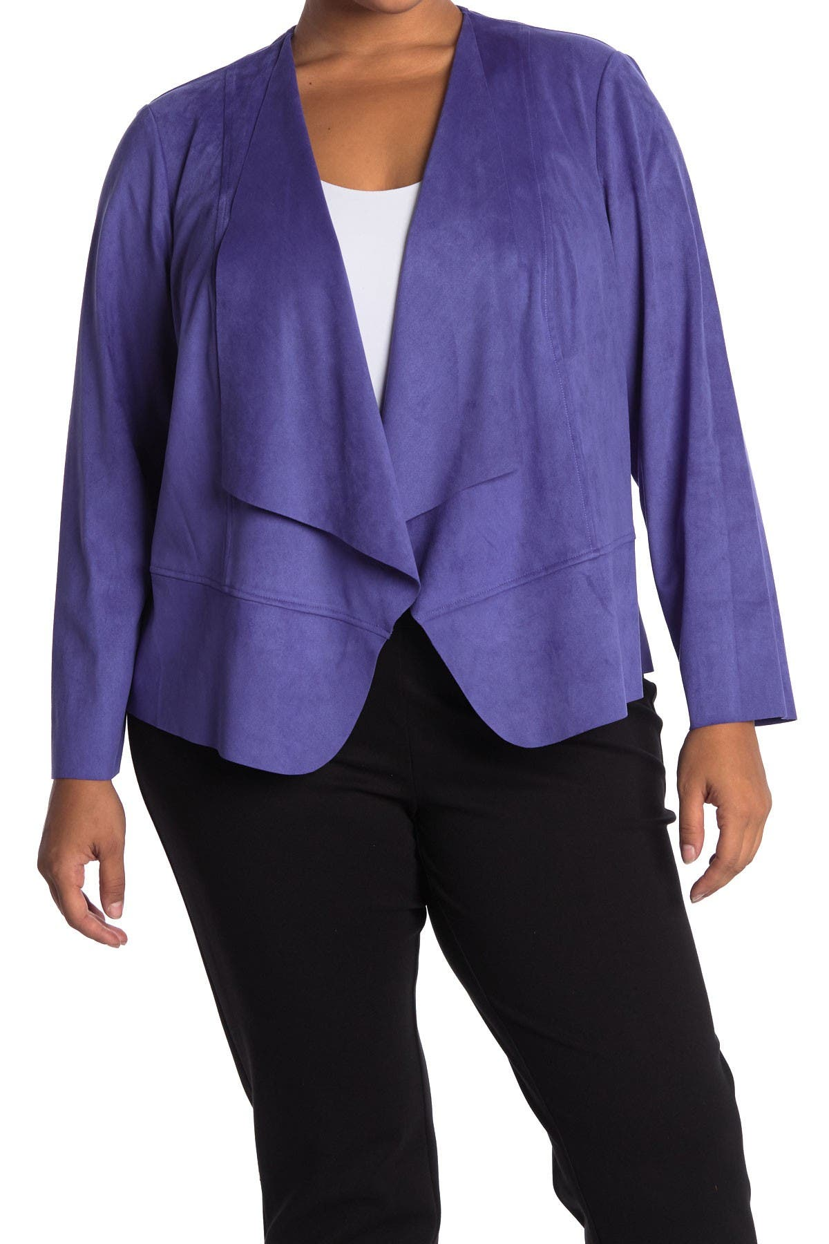 Image of Anne Klein Suede Drape Front Jacket