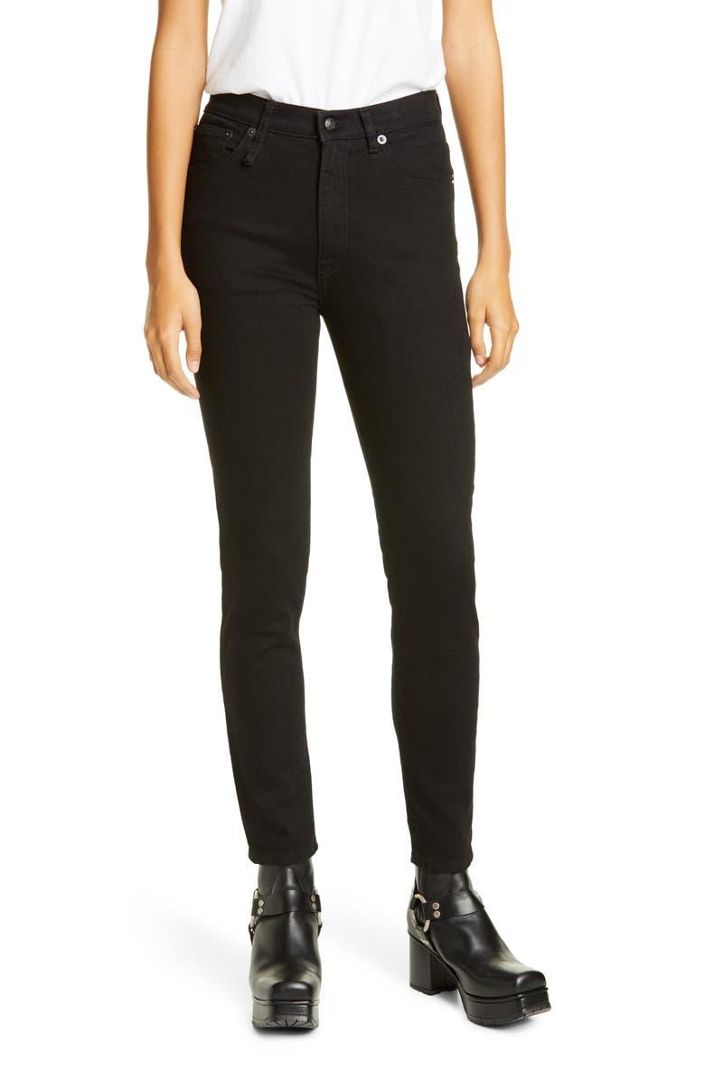 R13 High Waist Skinny Jeans, Main, color, RINSED BLACK