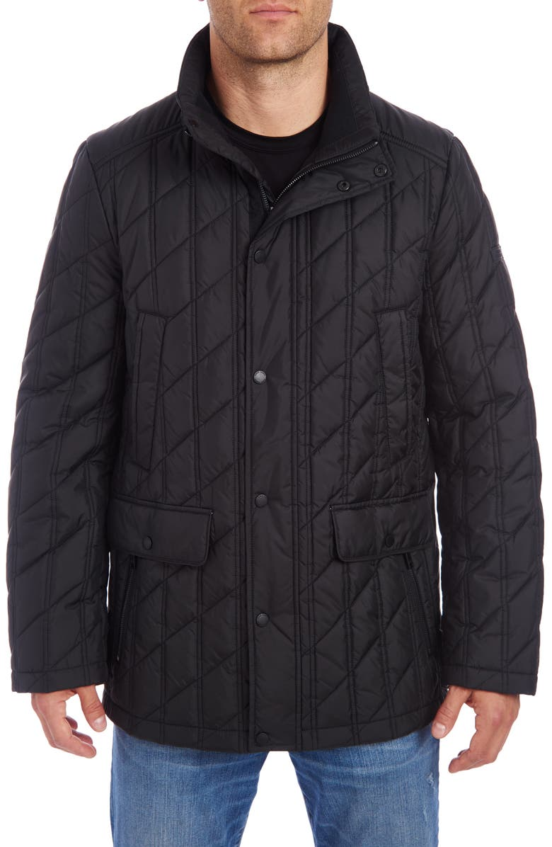 VINCE CAMUTO Water Resistant Down & Feather Puffer Jacket, Main, color, BLACK