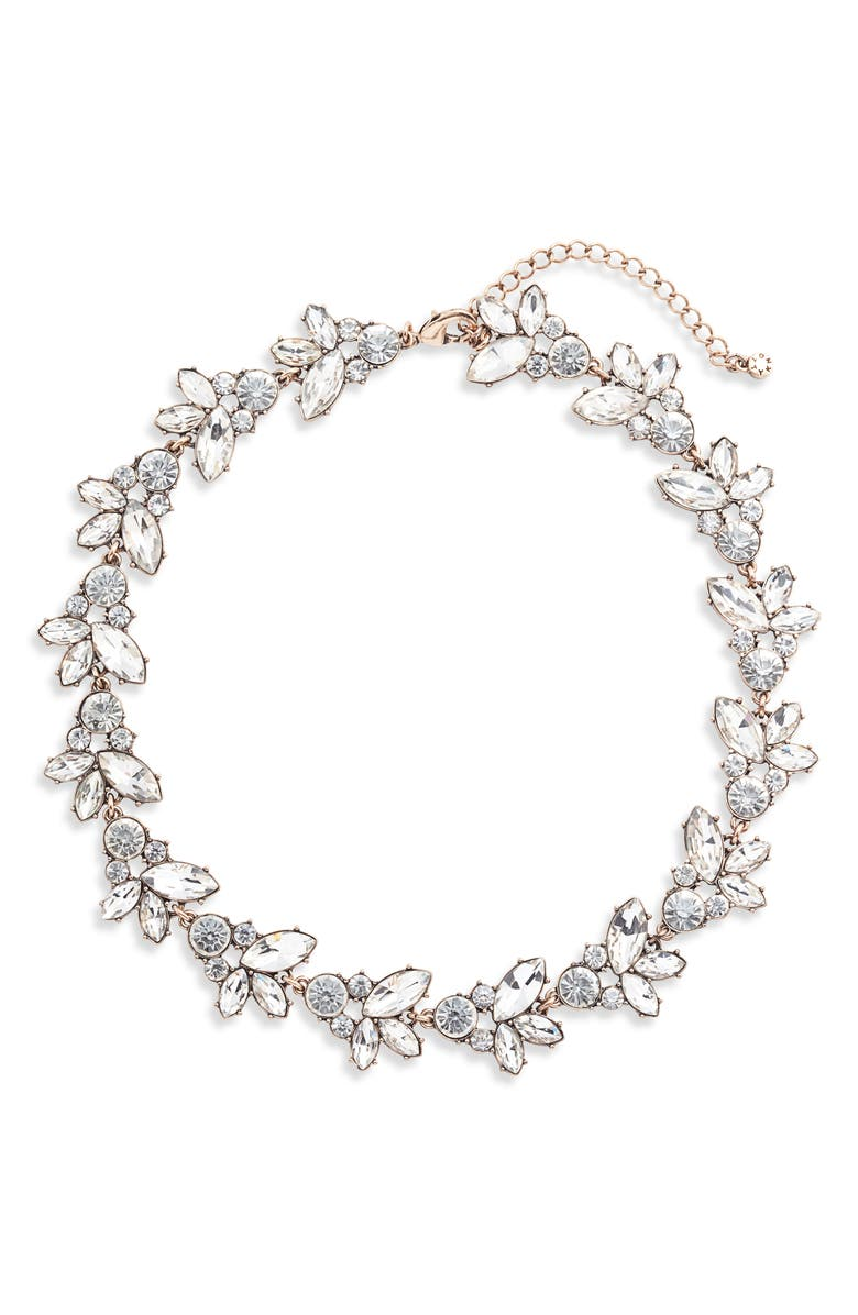 KNOTTY Crystal Statement Collar Necklace, Main, color, CRYSTAL/ GOLD