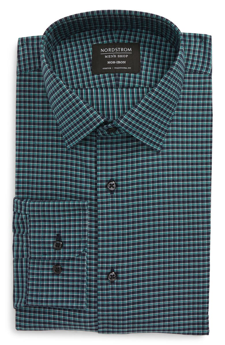 NORDSTROM MEN'S SHOP Traditional Fit Non-Iron Check Dress Shirt, Main, color, TEAL PEACOCK