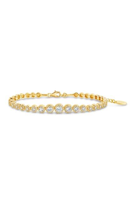 Image of Sterling Forever 14K Gold Plated Brass CZ Graduated Halo Tennis Bracelet