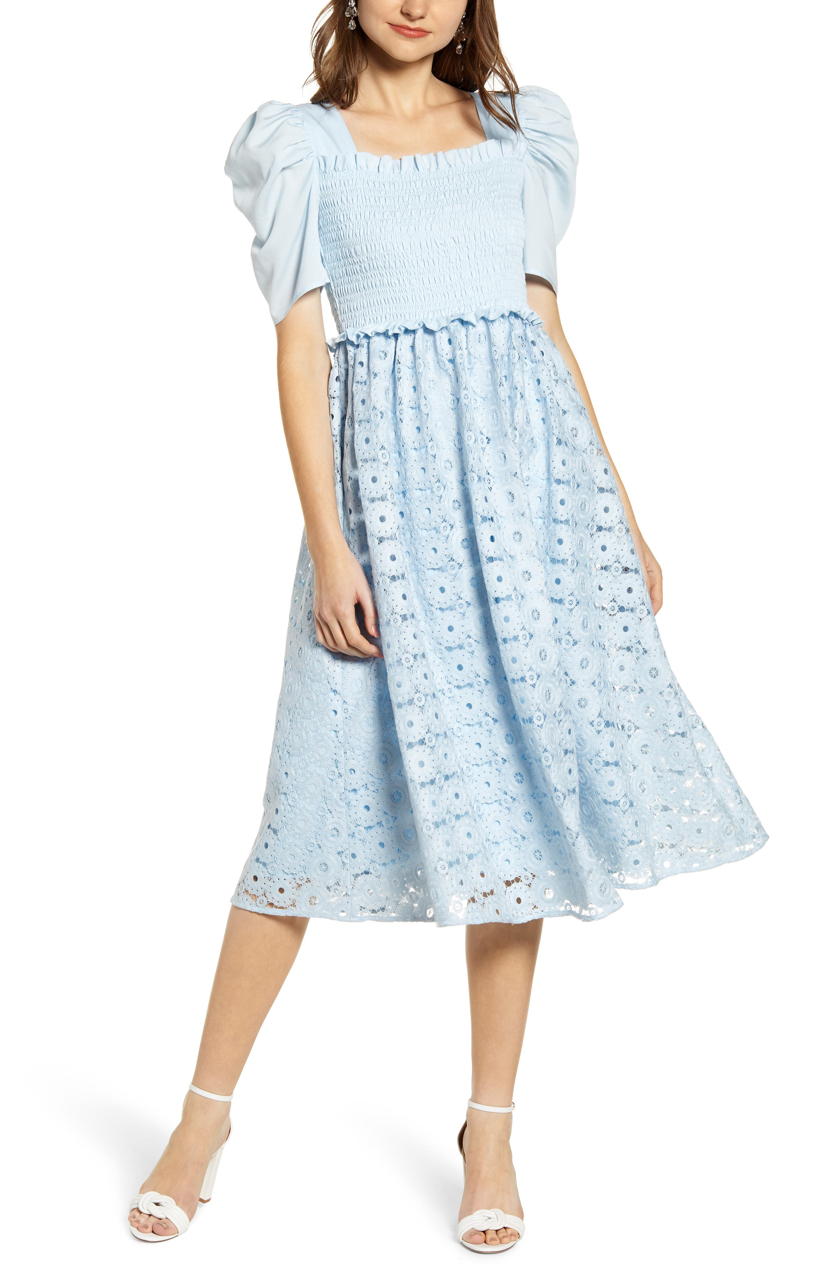 Rachel Parcell Smocked Waist A-Line Dress, Blue (Nordstrom Exclusive)