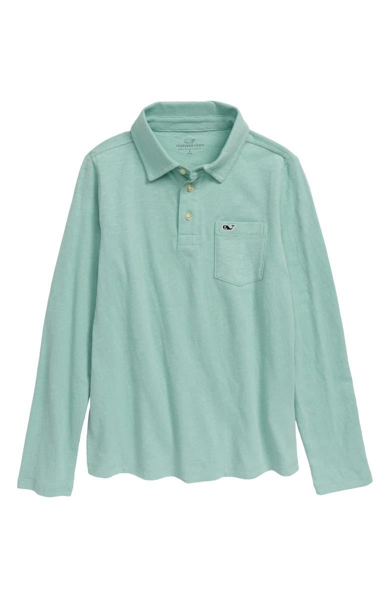 VINEYARD VINES Long Sleeve Polo Shirt, Main, color, GREENWICH GREEN