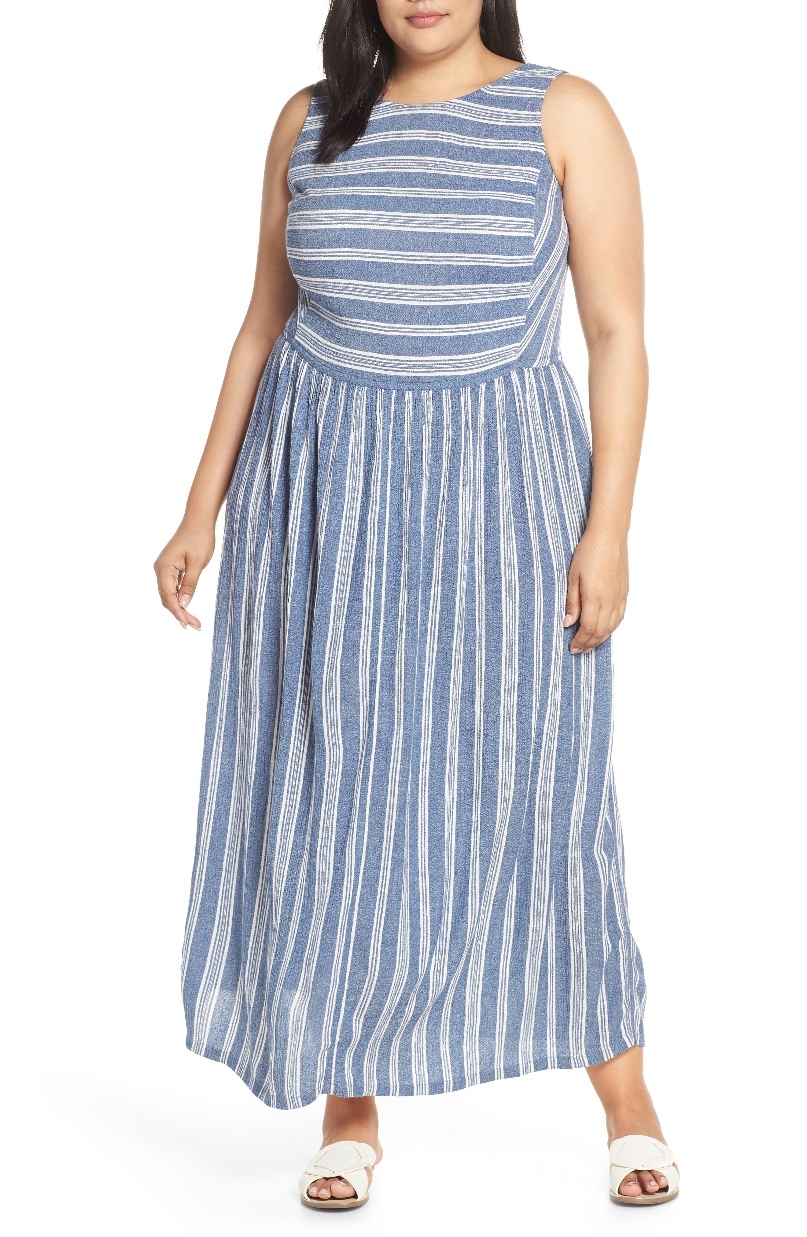 Plus Size Caslon Smocked Cotton Maxi Dress, Blue