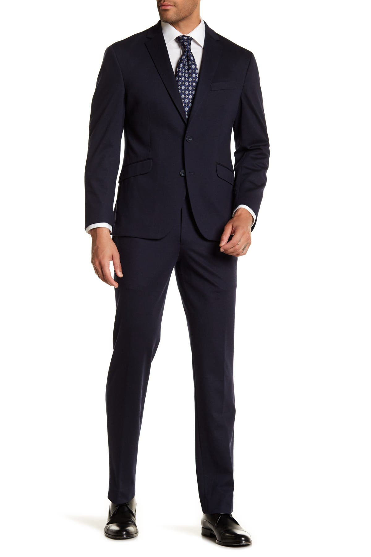 Image of Kenneth Cole Reaction Navy Blue Solid Two Button Notch Lapel Techni-Cole Performance Trim Fit Suit