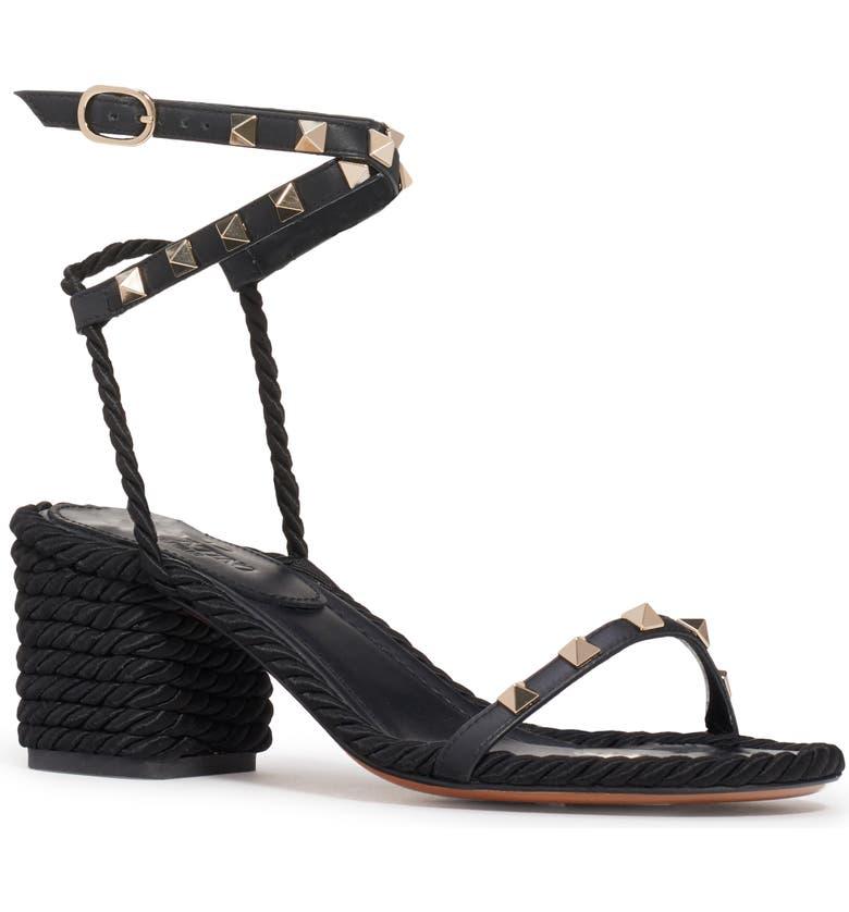 VALENTINO GARAVANI Valentino Rockstud Rope Sandal, Main, color, BLACK