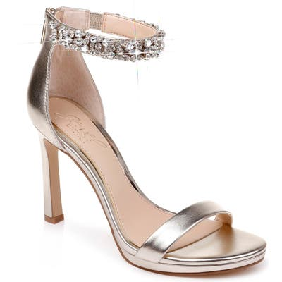 Jewel Badgley Mischka Sierra Crystal Ankle Strap Sandal- Metallic