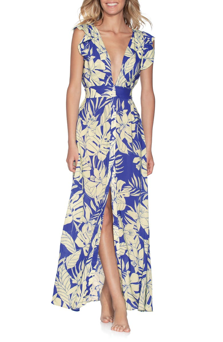MAAJI Wildest Dream Cover-Up Maxi Dress, Main, color, PACIFIC BLUE FLORAL