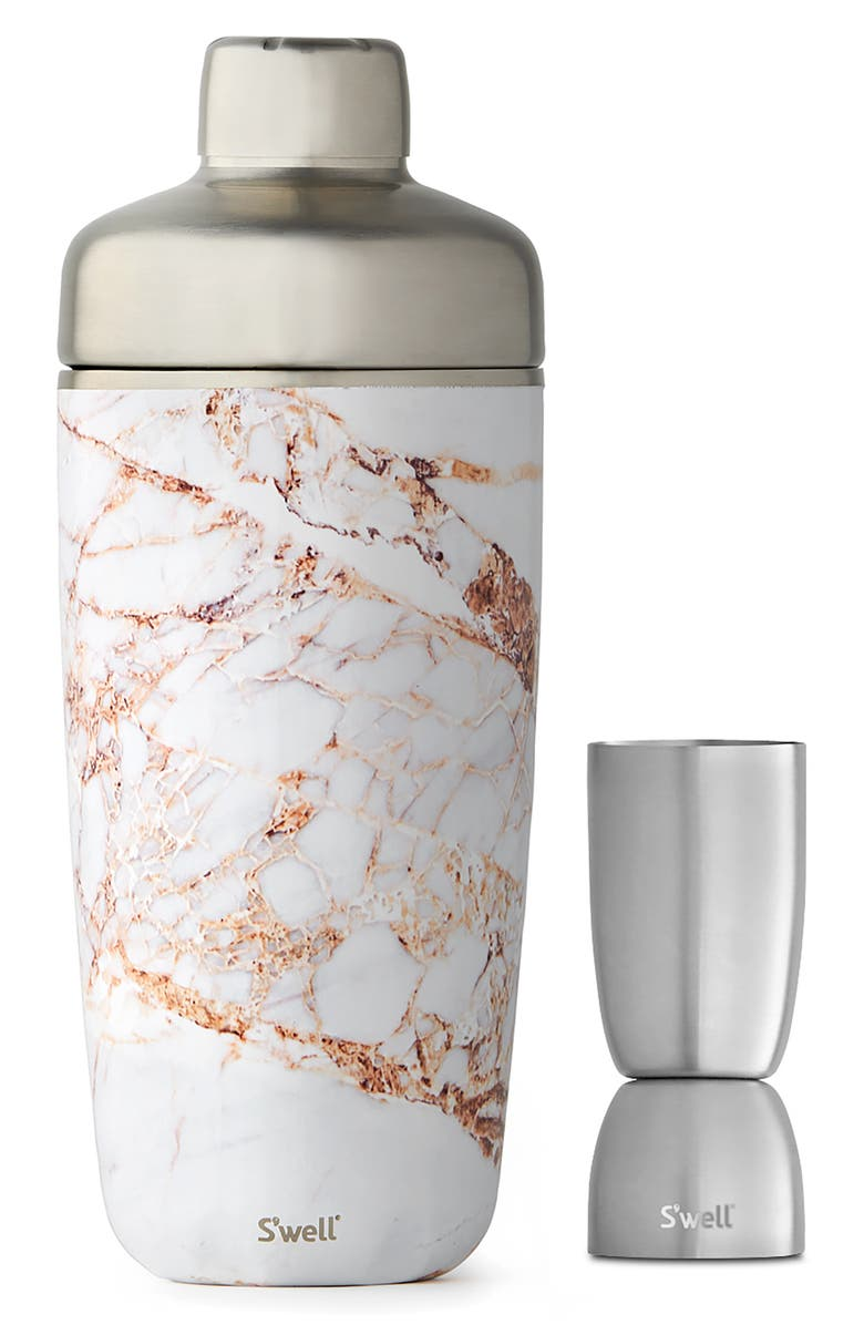 S'WELL Calacatta Gold 18-Ounce Cocktail Shaker Set, Main, color, 710