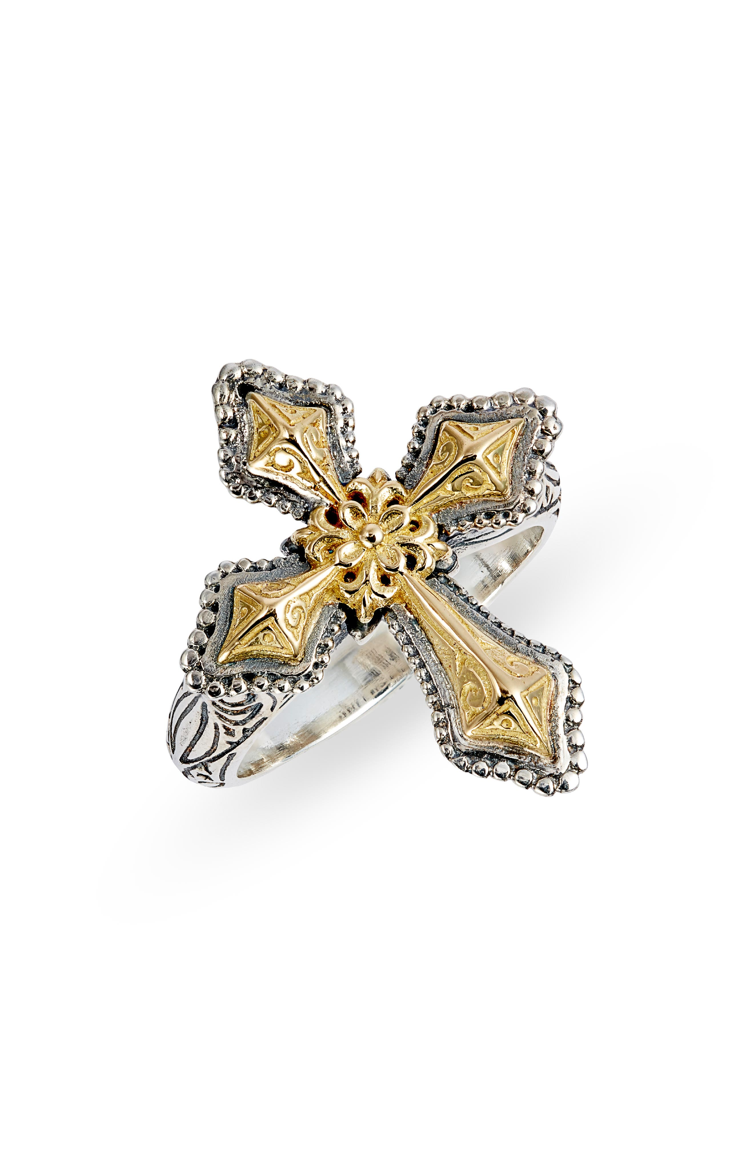 Ancient Grecian art and culture inspires this artisan-carved, heirloom-quality ring in a rich combination of sterling silver and 18-karat yellow gold. Style Name: Konstantino Kleos Cross Ring. Style Number: 5941766. Available in stores.