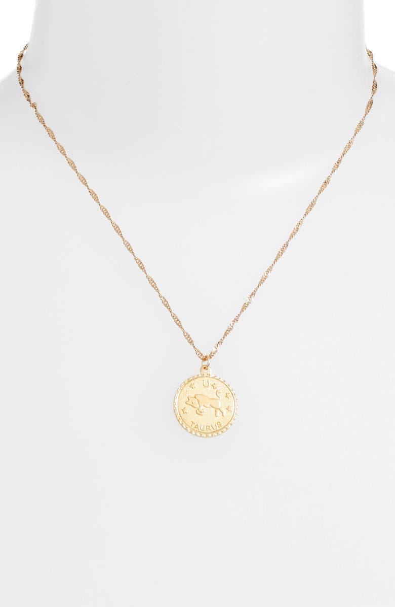 CAM Ascending Zodiac Medallion Necklace, Main, color, TAURUS
