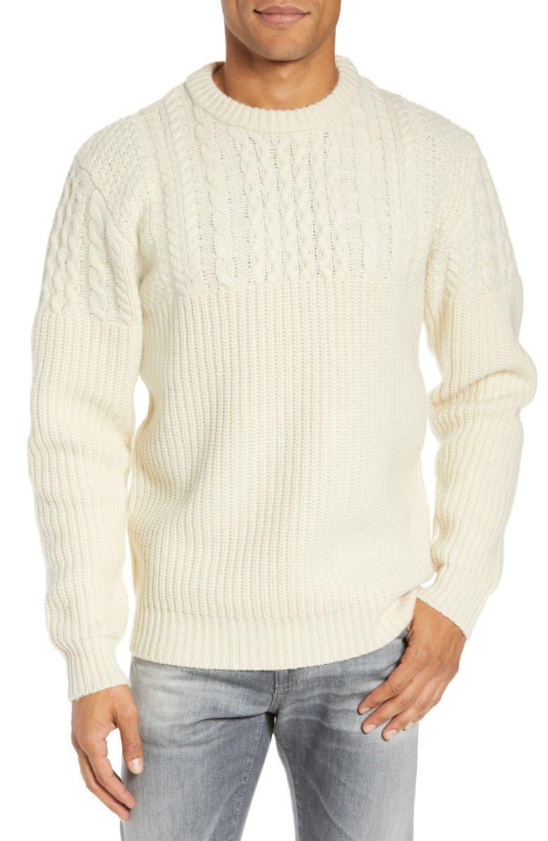 SCHOTT NYC Half Cable Crewneck Sweater, Main, color, 101