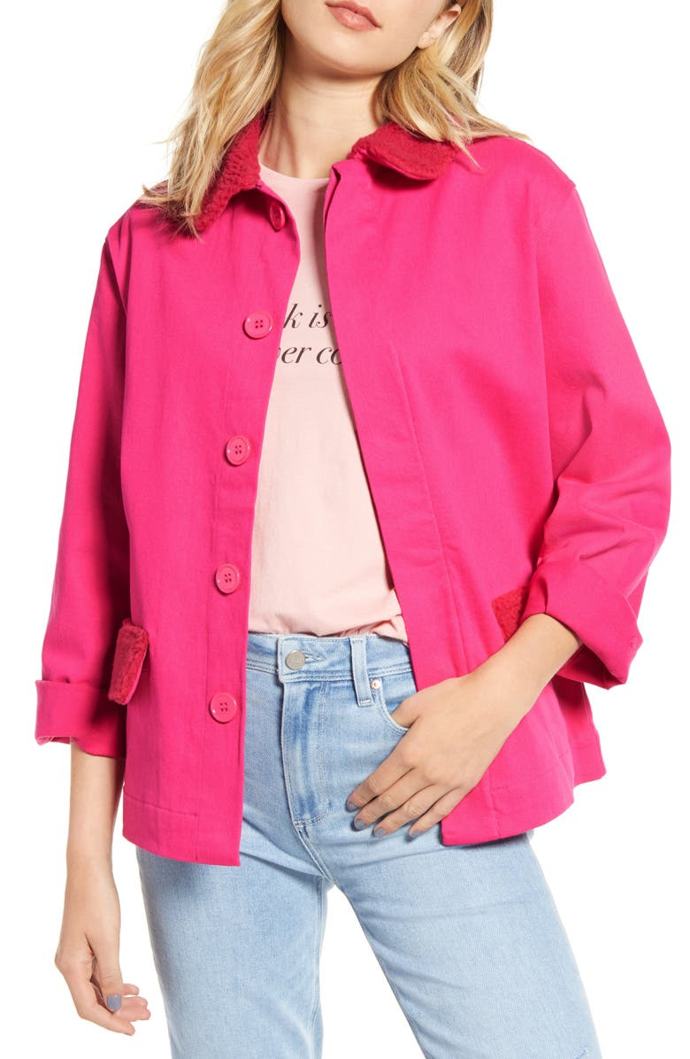 BAN.DO Fleece Trim Work Jacket, Main, color, PINK