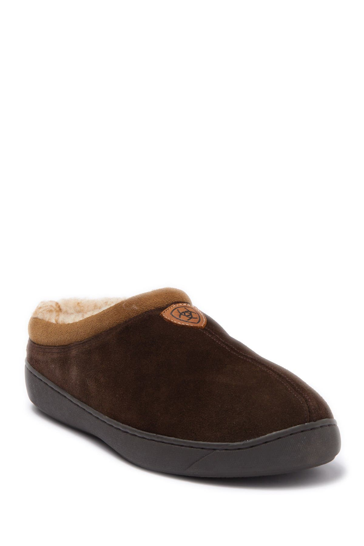 Ariat Suede & Faux Fur Lined Slipper In Chocolate