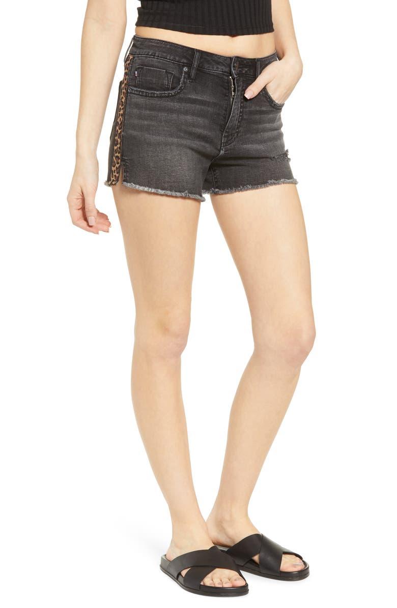 Vigoss Leopard Side Stripe Denim Shorts