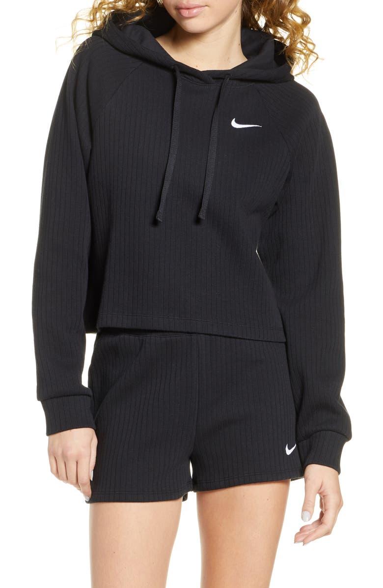 NIKE Sportswear Rib Cotton Crop Hoodie, Main, color, BLACK/ WHITE