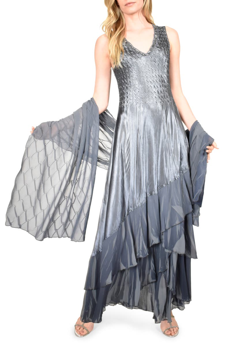 KOMAROV Charmeuse & Chiffon Maxi Dress with Shawl, Main, color, TRUE STEEL BLUE OMBRE