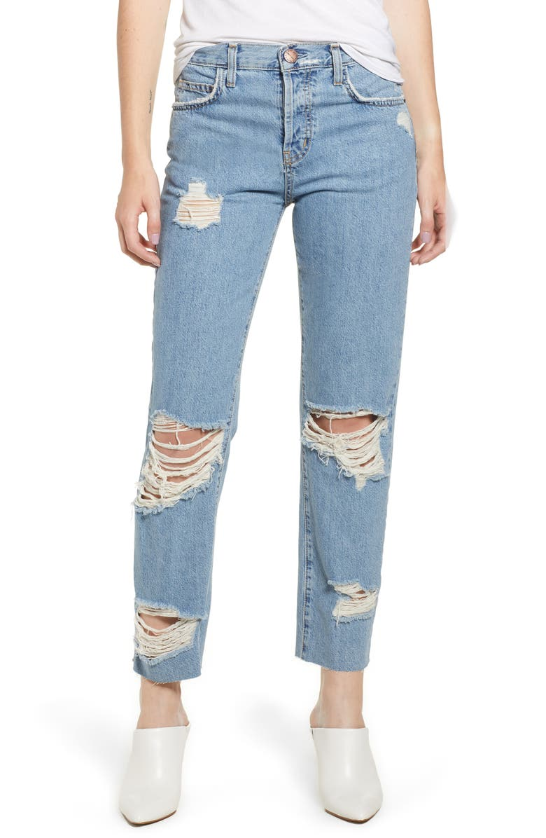 CURRENT/ELLIOTT Ripped Original Straight Leg Jeans, Main, color, 430