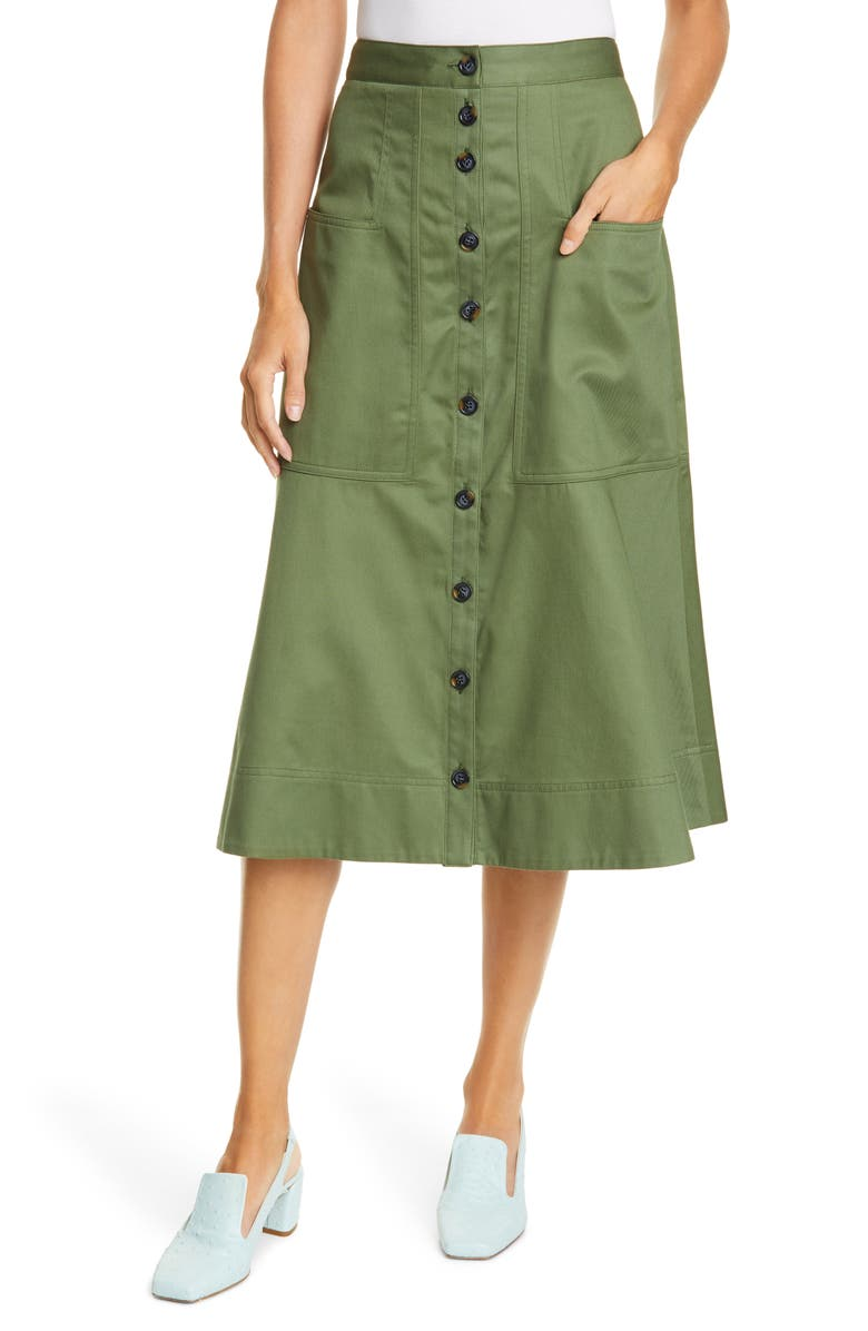 TIBI Harrison Cotton A-Line Midi Skirt, Main, color, ARMY GREEN