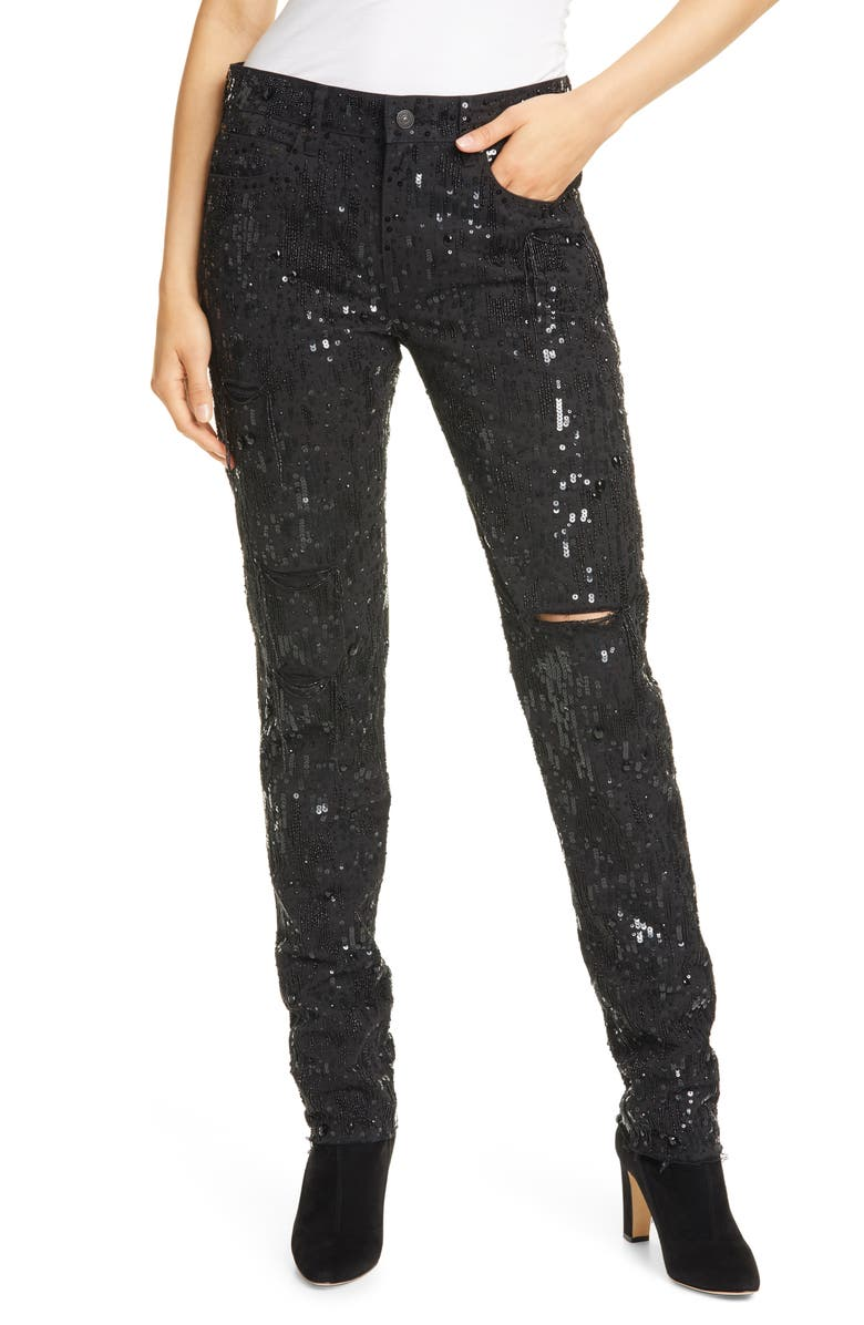 POLO RALPH LAUREN Avery Sequin Boyfriend Jeans, Main, color, BLACK BEADED