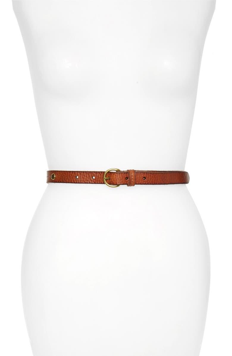 FRYE Panel Industrial Leather Belt, Main, color, COGNAC