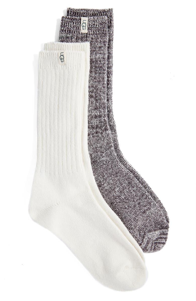 UGG<SUP>®</SUP> 2-Pack Slouchy Ribbed Crew Socks, Main, color, NIGHTFALL / WHITE