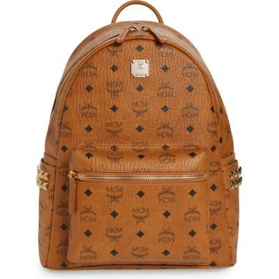 Mcm Medium Stark Side Stud Coated Canvas Backpack - Brown