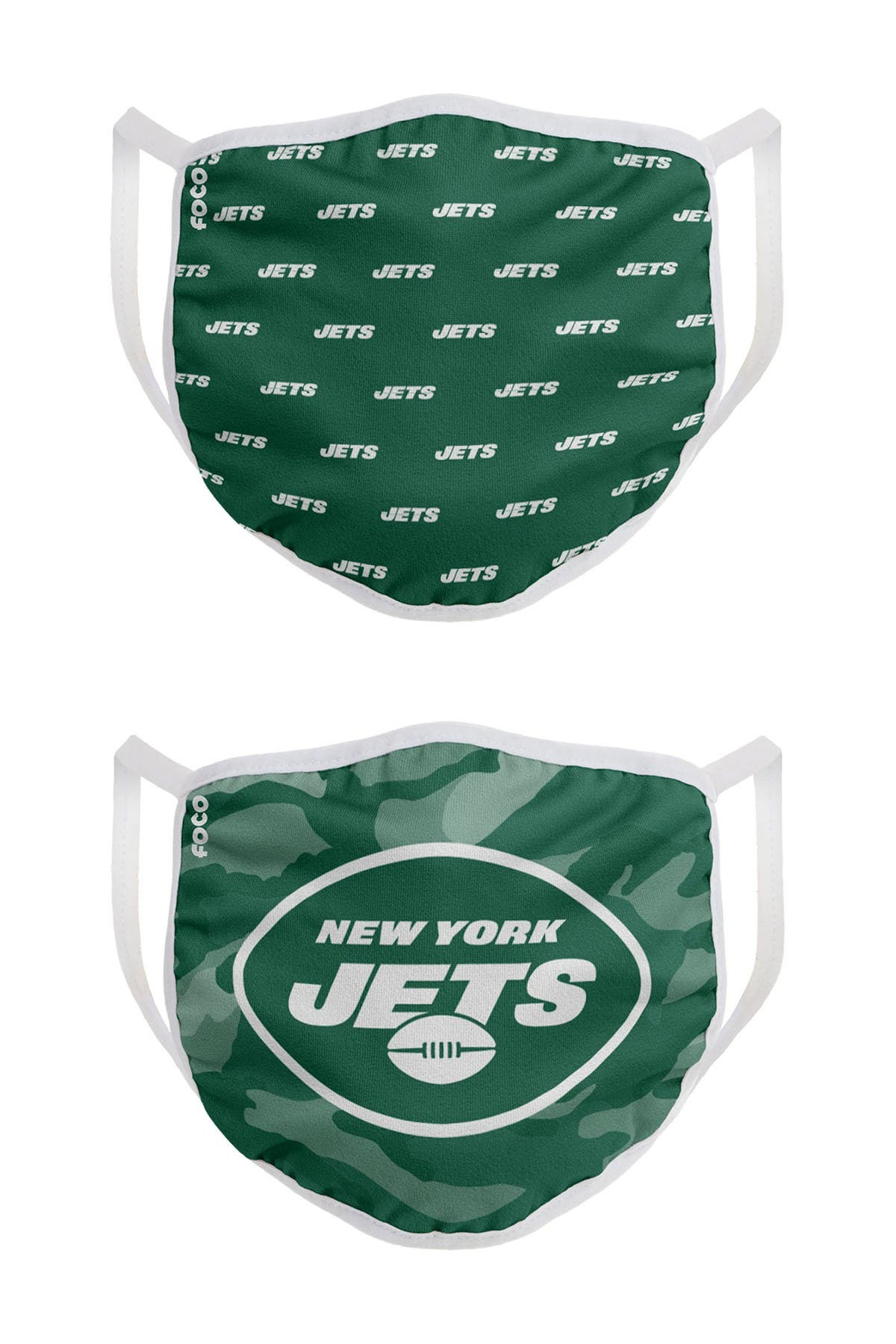 Image of FOCO NFL New York Jets Clutch Printed Face Cover - Pack of 2