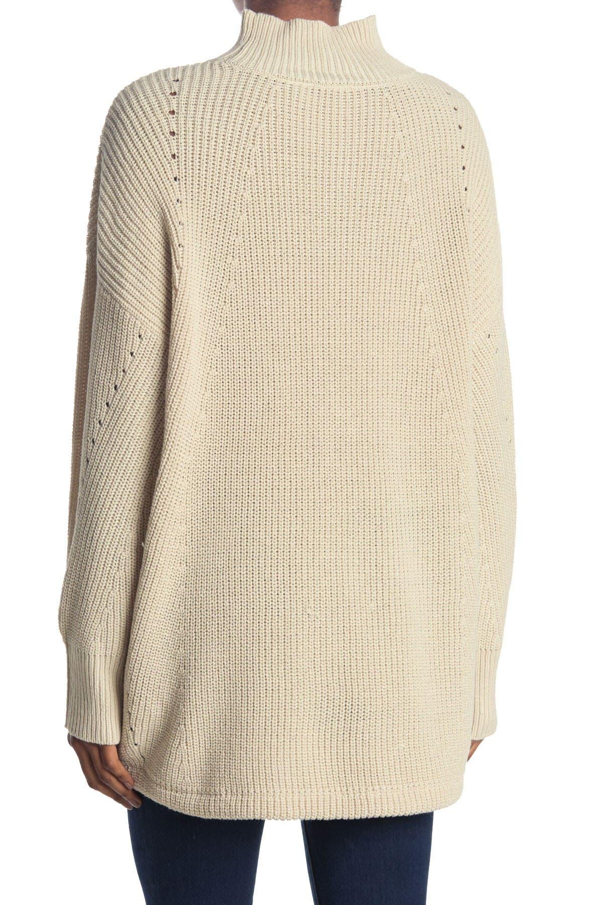 Image of Modern Designer Mock Neck Kangaroo Pocket Ribbed Tunic Sweater