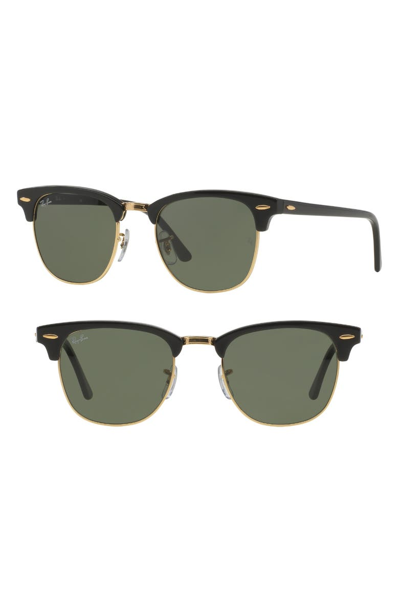 RAY-BAN 'Clubmaster' 49mm Sunglasses, Main, color, 001