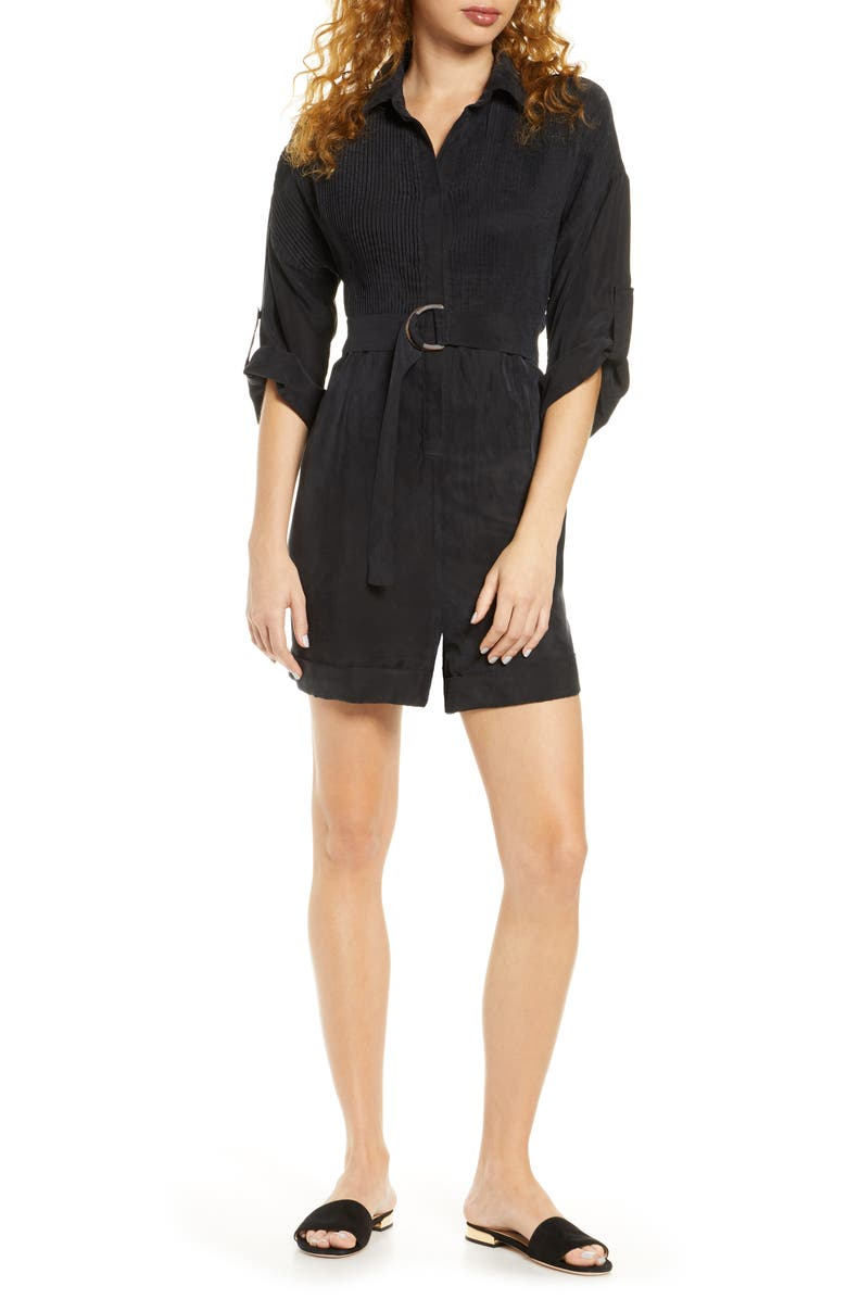 SANCIA Marcia Belted Romper, Main, color, ONYX BLACK