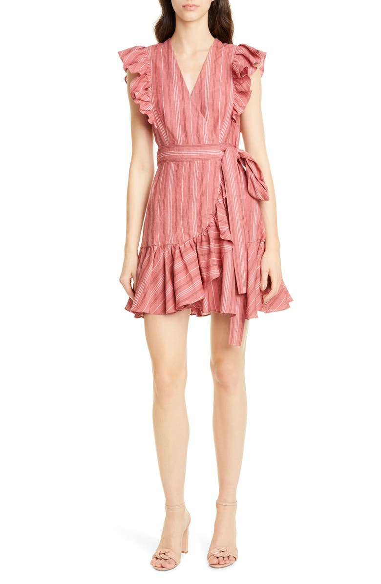 Rebecca Taylor Stripe Ruffle Sleeveless Linen Wrap Dress