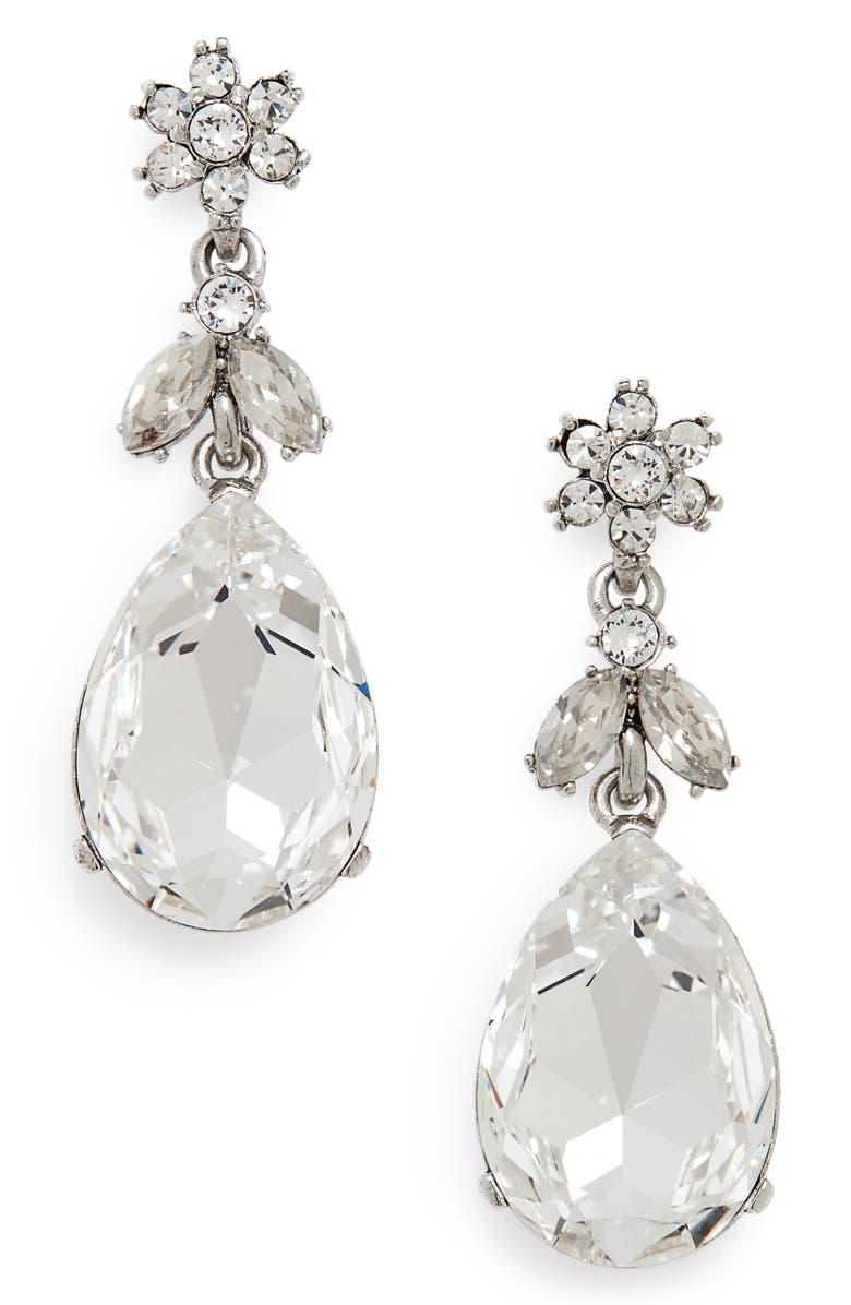 OSCAR DE LA RENTA Classic Crystal Teardrop Earrings, Main, color, CRYSTAL