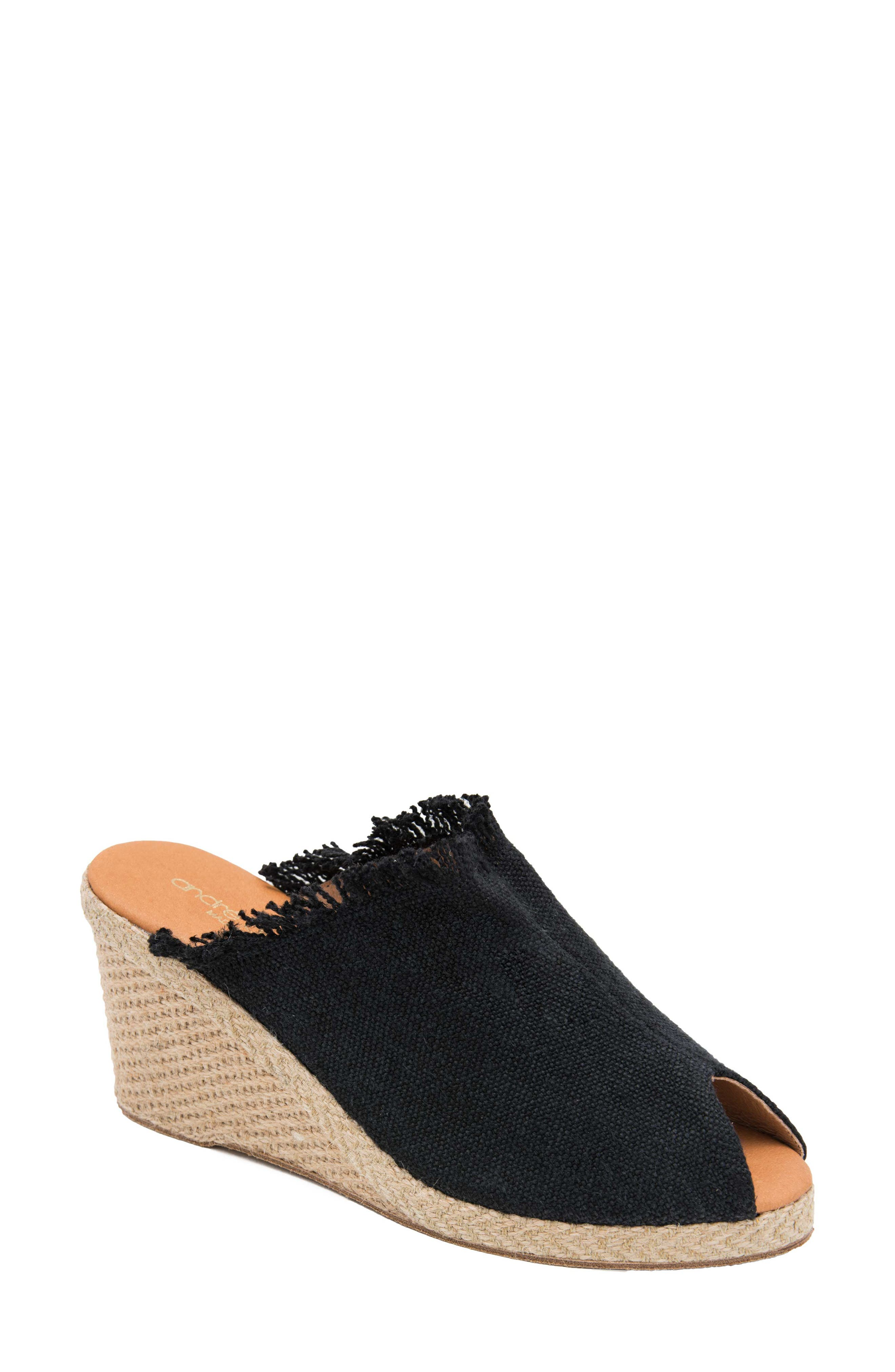 Andre Assous Popy Frayed Wedge Mule, Black