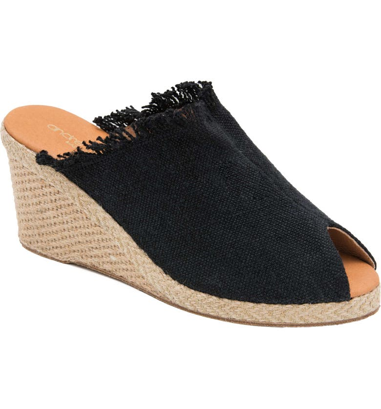 ANDRÉ ASSOUS Popy Frayed Wedge Mule, Main, color, BLACK FABRIC