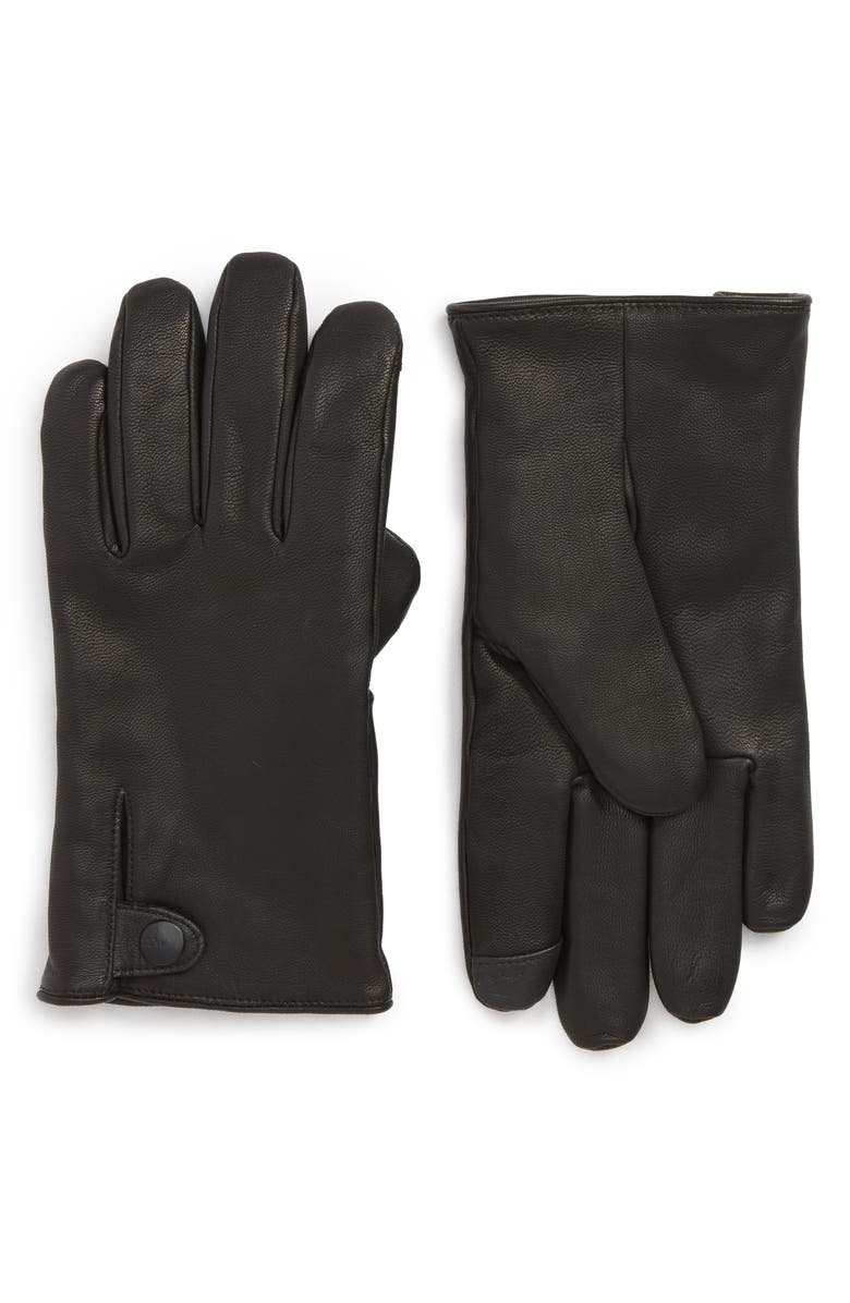 UGG<SUP>®</SUP> Leather Gloves, Main, color, 001