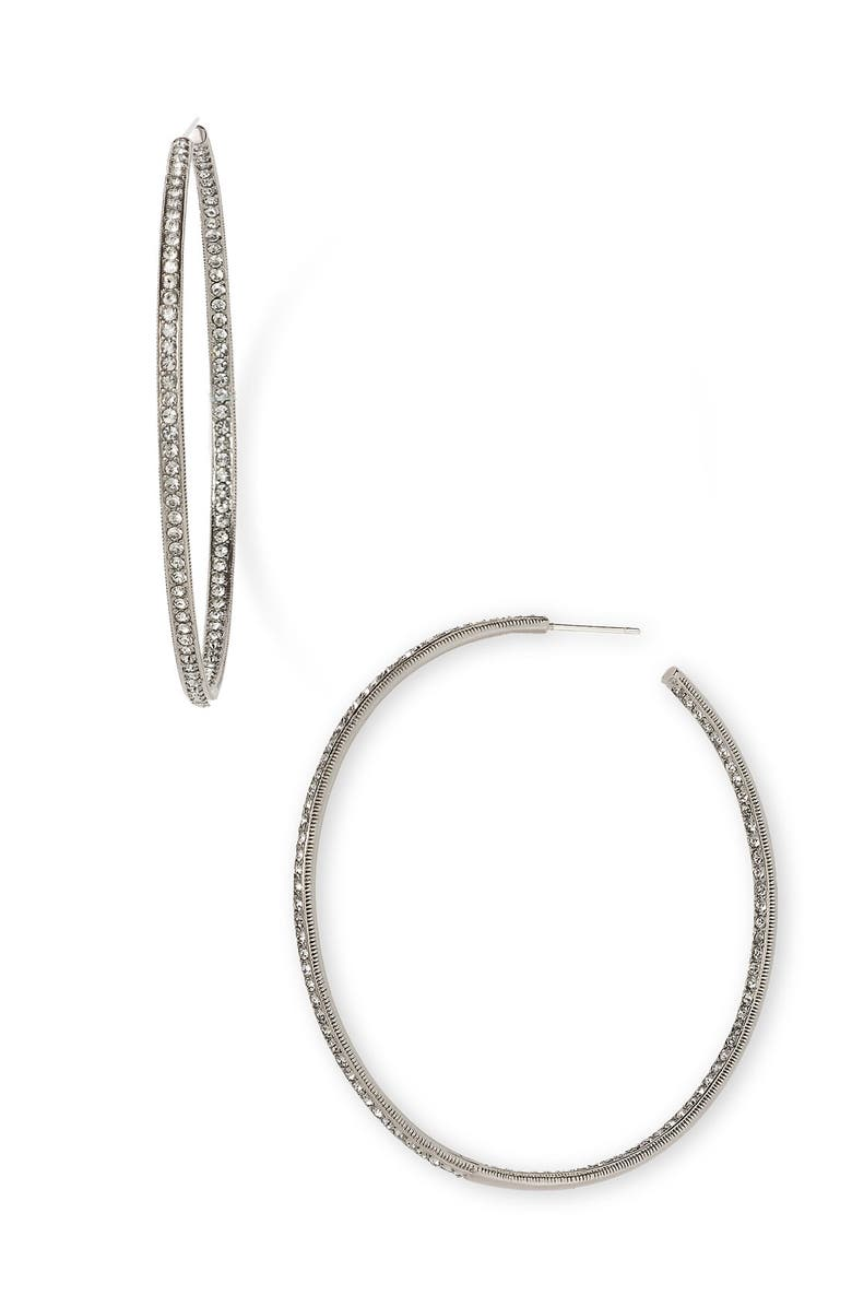 NADRI Pavé Inside Out Hoop Earrings, Main, color, 001