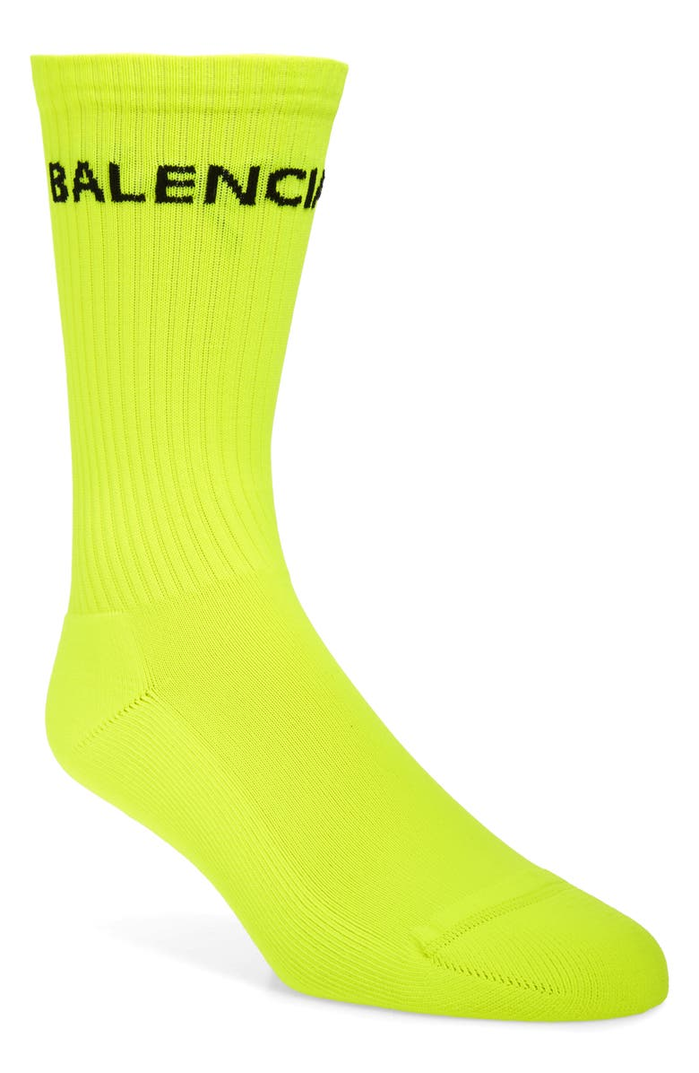 BALENCIAGA Fluorescent Tennis Socks, Main, color, LEMON/BLACK
