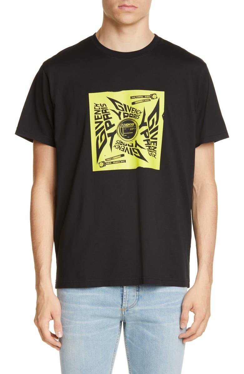 GIVENCHY Paris Square Sun Graphic T-Shirt, Main, color, BLACK