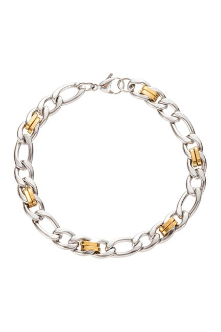 Image of Eye Candy Los Angeles 2 Tone Silver and Gold Titanium Cuban Link Bracelet