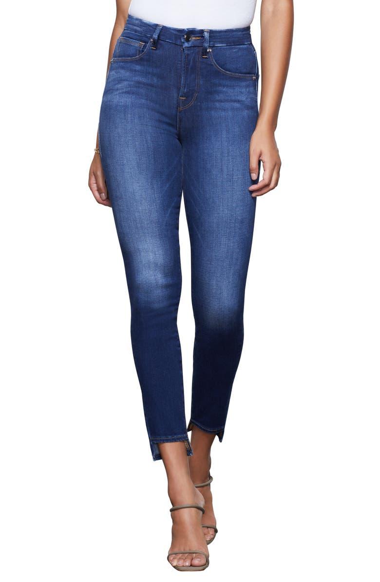GOOD AMERICAN Good Waist High Waist Step Hem Skinny Jeans, Main, color, 401