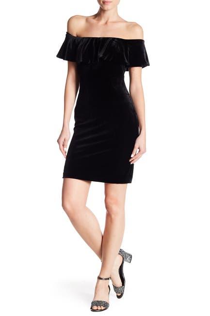 Image of Eliza J Off-the-Shoulder Ruffle Velvet Dress
