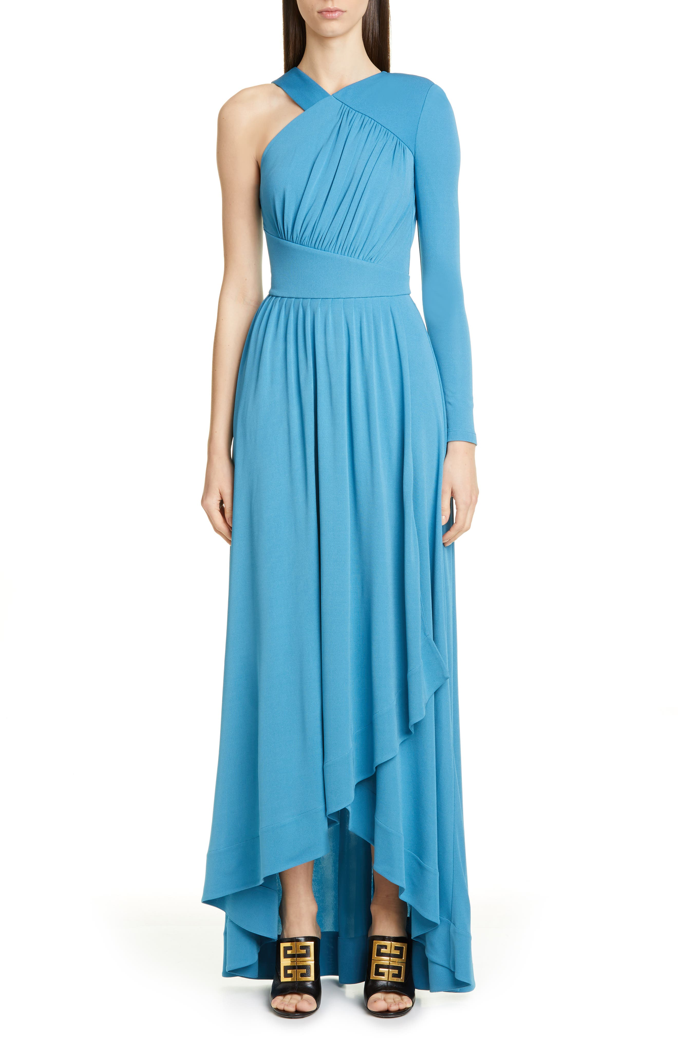 Givenchy Draped One-Shoulder Crepe Jersey Gown, 4 FR - Blue