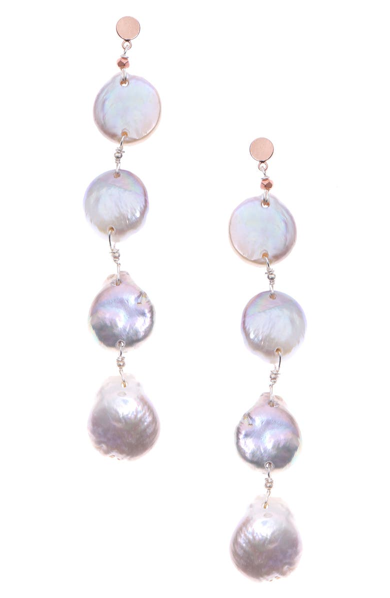 NAKAMOL CHICAGO Freshwater Pearl Drop Earrings, Main, color, 100