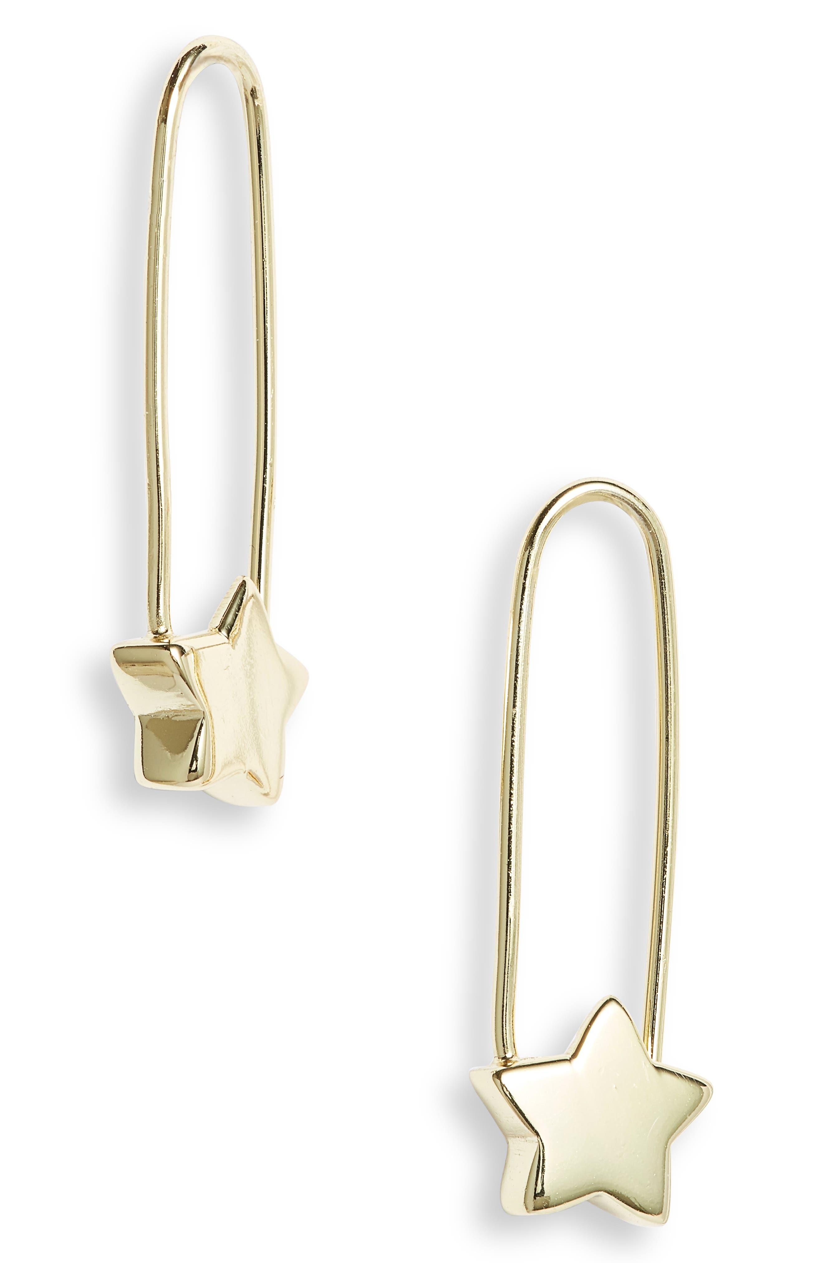 Safety Pin Star Drop Earrings