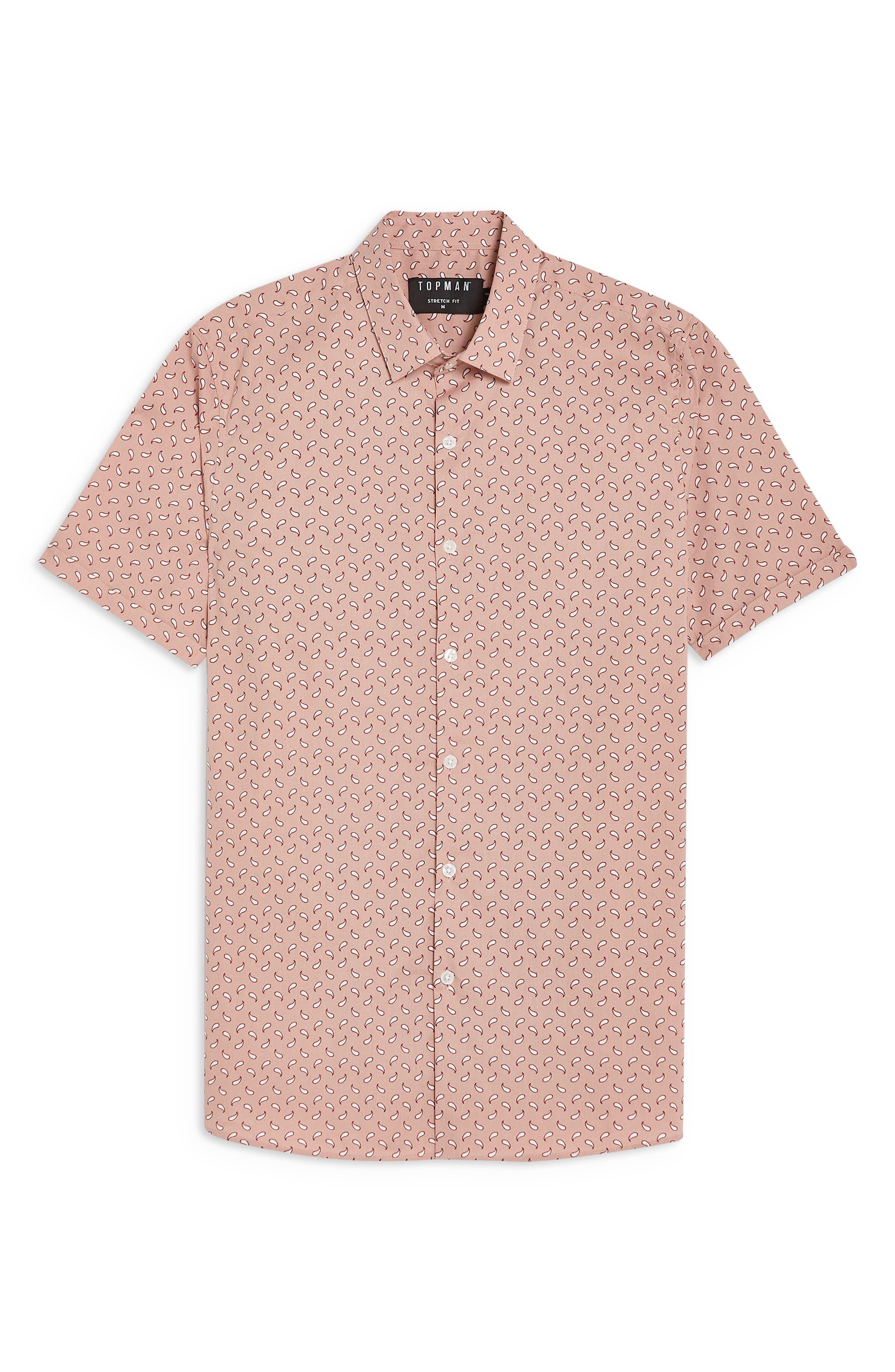 ,                             Stretch Skinny Fit Paisley Print Shirt,                             Alternate thumbnail 4, color,                             PINK MULTI