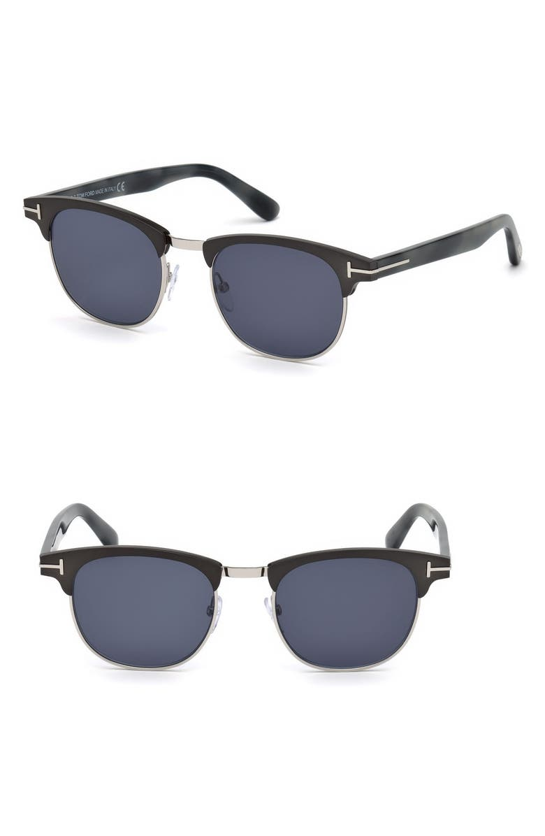 TOM FORD Laurent 51mm Round Retro Sunglasses, Main, color, MATTE GUNMETAL / BLUE